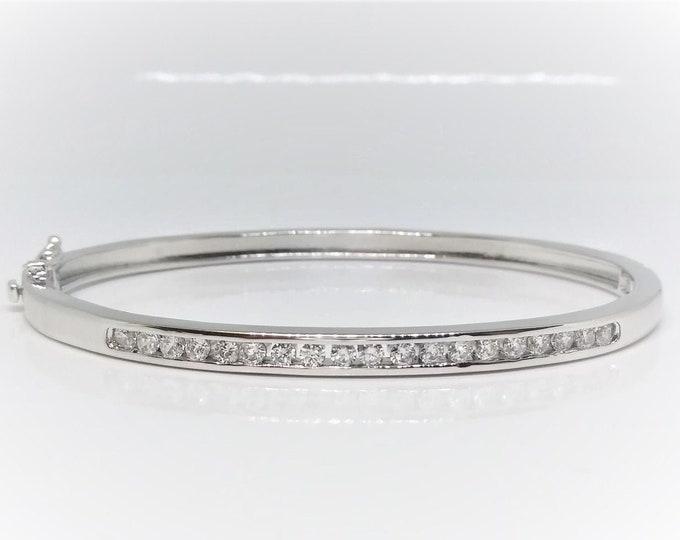Sterling Silver Channel Set Round CZ Bangle Bracelet