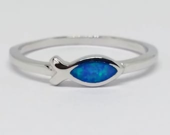 Blue opal sterling silver fish ring | Jesus fish ring | Religious fish ring