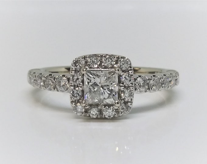 14k White Gold Princess Cut Diamond Halo Ring