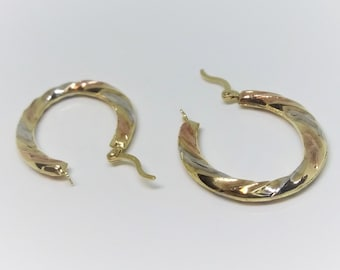 14k White, Yellow, And Rose Gold Twisted Hoop Earrings