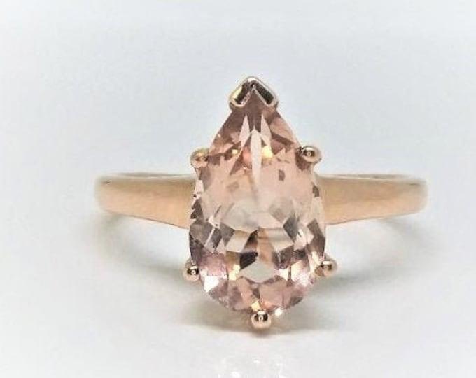 10K Rose Gold Pear Shaped Natural Morganite Ring