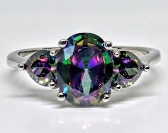 3 Stone Sterling Silver Mystic Topaz Ring
