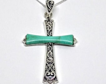 Sterling Silver Green Turquoise Cross