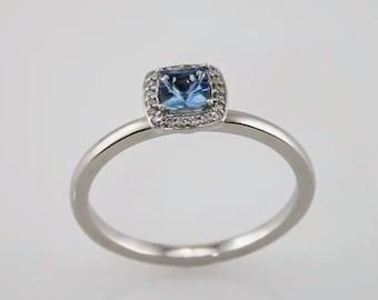 14K White Aquamarine And Diamond Ring | Multi Stone Ring | Gemstone Ring