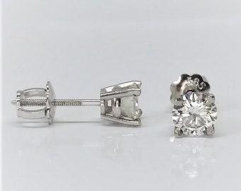 14k White Gold 1/2 Carat Natural Diamond Stud Earrings