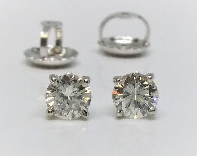 0.40 CT SI Clarity 14k White Gold Screw Back Diamond Stud Earrings