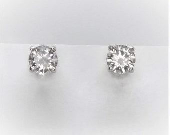 0.50 TCW SI Clarity 14k White Gold Screw Back Diamond Stud Earrings
