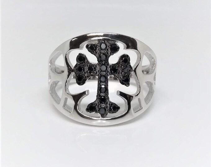 Men's Sterling Silver Black CZ Cross Ring