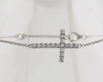 Sterling Silver Cubic Zirconia Sideways Bracelet