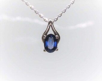14k White Gold Natural Blue Sapphire Pendant
