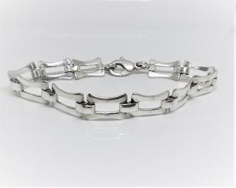 925 Men's Sterling Silver Fancy Link Bracelet