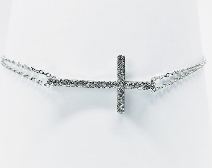 Sterling Silver Cross Bracelet