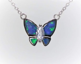 Sterling Silver Blue Opal And CZ Butterfly Necklace