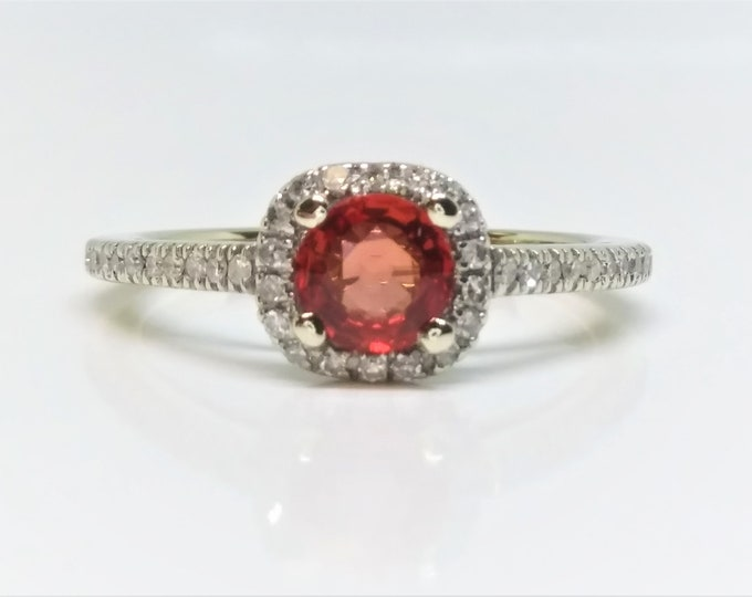 14k White Gold Natural Ruby and Diamond Halo Ring