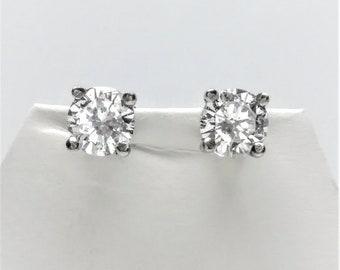 0.50 CTW 14k White Gold Diamond Stud Earrings
