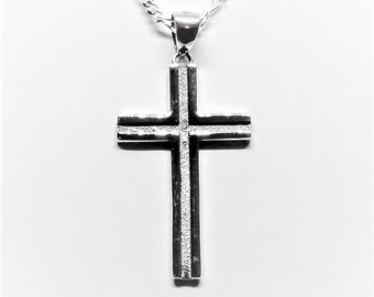 Mens Sterling Silver Cross Necklace and Figaro Chain