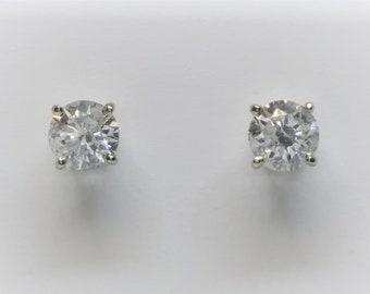 14k White Gold 3/4 Carat Natural Diamond Stud Earrings