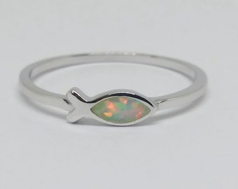 White opal sterling silver fish ring | Jesus fish ring | Religious ring
