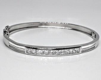 Channel Set Princess Cut CZ Bangle Bracelet