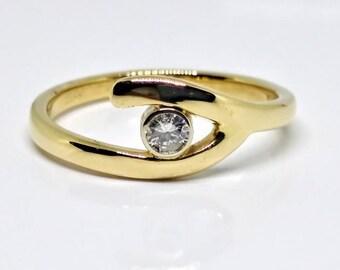 Bypass Style Yellow Gold Diamond Ring