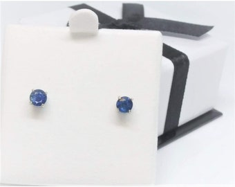 14k White Gold 0.75 TCW Natural Sapphire Studs