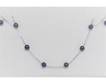 14k White Gold Dark Purple Pearl Necklace