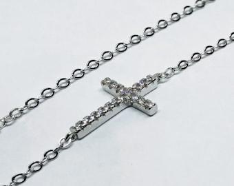 Silver sideways cross necklace | Jesus necklace | Cross jewelry