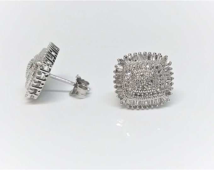 0.75 CT 10k White Gold Diamond Stud Cluster Earrings