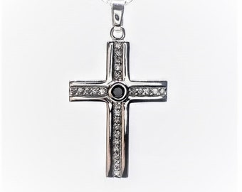 Mens Silver Cross Necklace With Stones