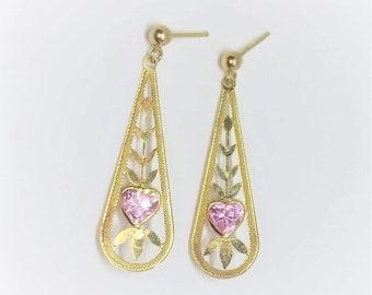 Yellow Gold Dangle Pink Heart Earrings