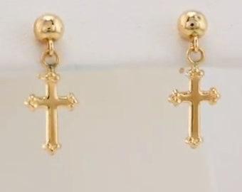 14K Yellow 11x8  mm Cross Ball Earrings | small cross earrings | small gold cross