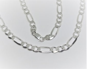 Mens Sterling Silver 24 Inch Figaro Chain