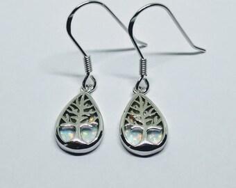 Sterling silver white opal tree earrings | tree of life earrings | opal earrings