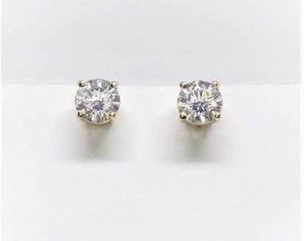 0.60 TCW SI 14k Yellow Gold Diamond Stud Earrings
