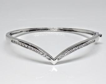 Channel Set CZ Bangle Bracelet