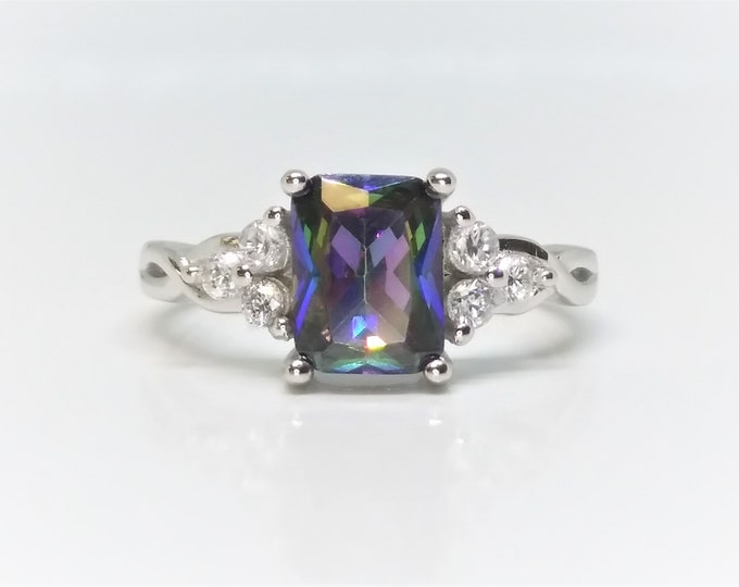 Emerald Cut Sterling Silver Mystic Topaz Ring