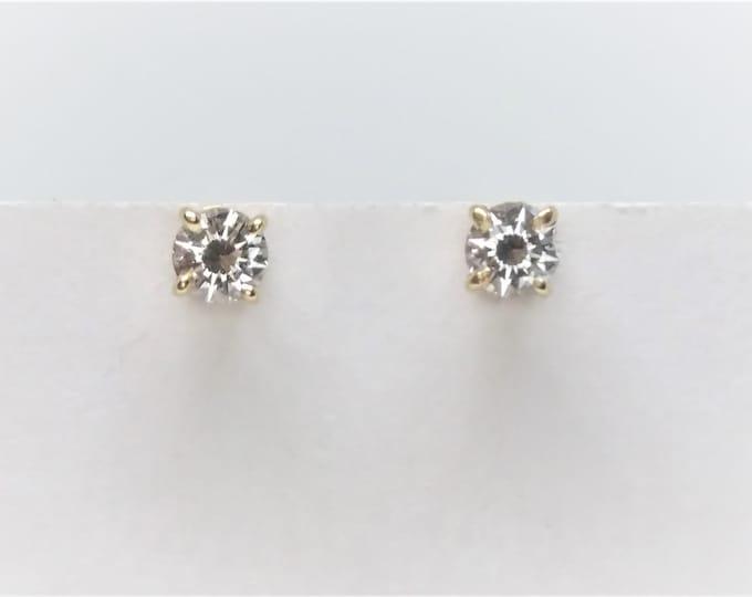 Youth Size 14k Yellow Gold Diamond Stud Earrings 0.40 CT