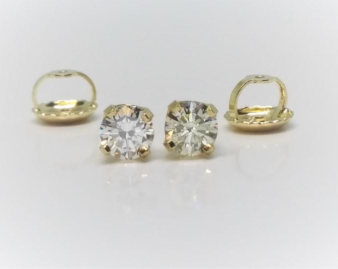0.50 CT 14k Yellow Gold Screw Back Diamond Stud Earrings