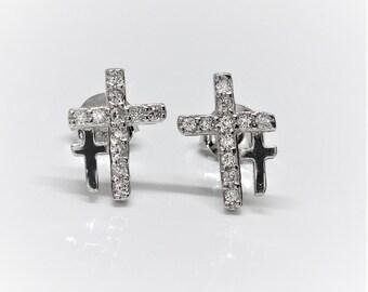 925 Sterling Silver Double Cross Stud Earrings