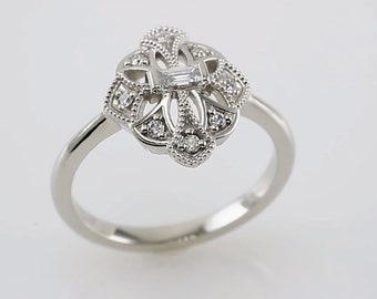 14K White 1/6 CTW Diamond Vintage-Inspired Ring | Diamond ring | Engagement ring | Statement ring