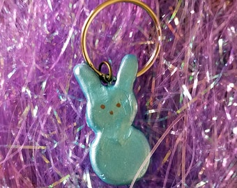Blue Bunny Easter Peep Candy Polymer Clay Charm Keyring — Easter Peep Keyring — Blue Bunny Peep Charm Keyring — Easter Basket Stuffer