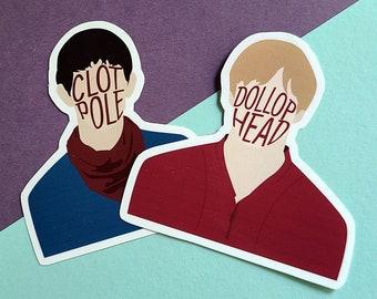 Merthur Sticker Set | Arthur and Merlin | Dollop Head | Clot Pole | Handcut Vinyl Stickers | Vinyl Decals