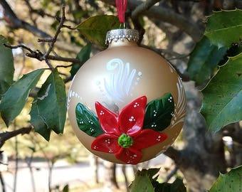 Christmas Poinsettia Ornament — Polymer Clay Poinsettia — Poinsettia Flowers — Gold Ball Ornament — Three Dimensional Christmas Ornament