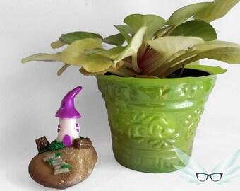 Fairy Garden Miniature — Fairy Garden House — Polymer Clay Fairy House — Fairy House with Stump — Toadstool House — Mushroom House for Fairy