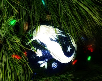 Handpainted Mermaid Christmas Ornament — Little Mermaid Ornament — Under the Sea Ornament — Mermaid Tail Christmas Ornament