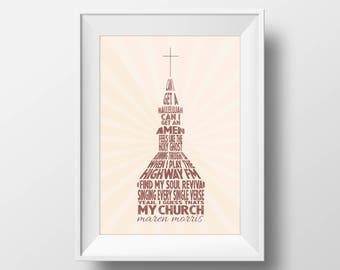 My Church Art Print — Word Art Print — Country Church Art Print — Rustic Decor Art Print — Farmhouse Decor Art Print — Music Lover Gifts