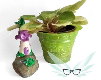 Fairy Garden Miniature — Fairy Garden House — Polymer Clay Fairy House — Fairy House with Flowers — Purple Flowers — River Rock Fairy House