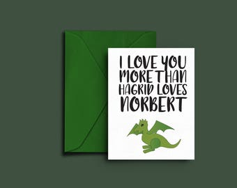 Print at Home Harry Potter Card — Dobby the Elf — I Love You Card — Love Card — Valentine — Anniversary Card — Romantic Nerd Card