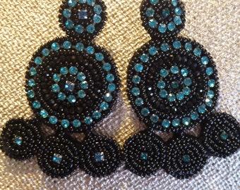 Beaded Black & Turquoise  Earrings