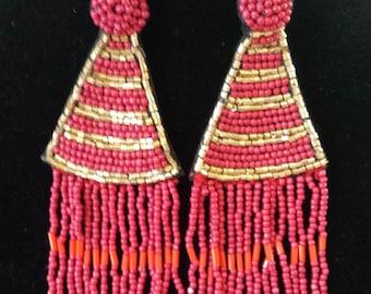 Red, Gold Beaded Fringe Earrings